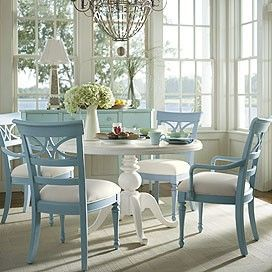 Clean lines, yet comfortableKitchens, Dining Rooms, Beach House, Breakfast Nooks, Cottage, Diningroom, Blue Chairs, Breakfast Room, Painting Chairs