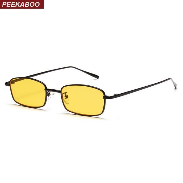 #DealOfTheDay #FASHION #NEW Peekaboo small rectangle sunglasses men yellow red lens metal frame black square sun glasses for women 2018…