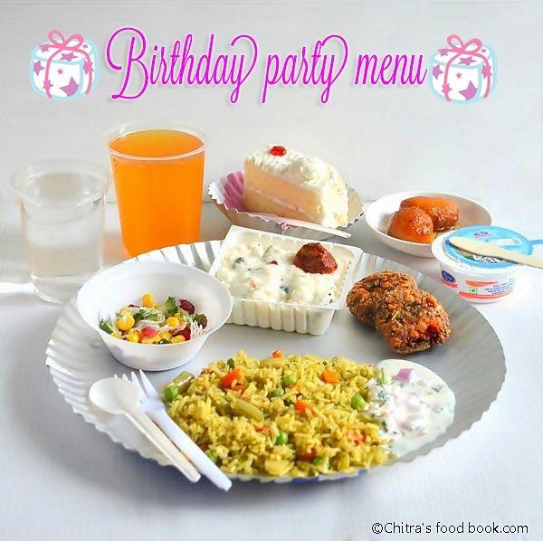 Kids Birthday Party Lunch Menu - Indian Vegetarian