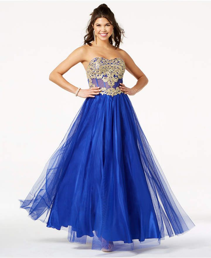 ee1b74fe1e39 Blondie Nites Juniors' Embroidered Corset Ball Gown #ad | teens gown ...
