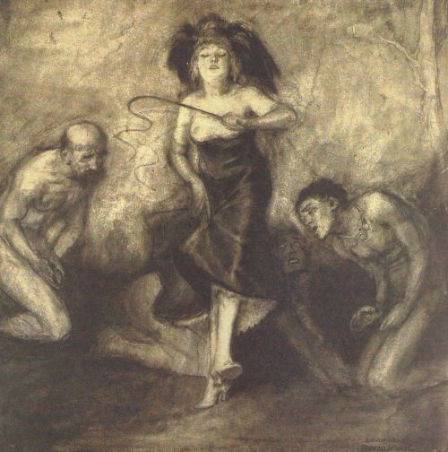 drakontomalloi:Bruno Schulz - Woman with a Whip and Three Naked Men. 1920