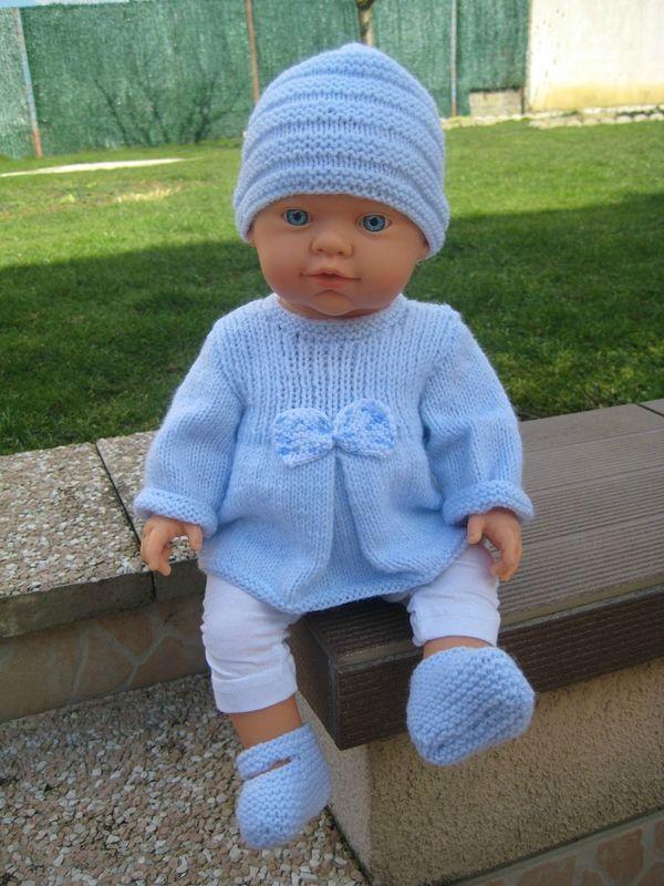 Ben nu dit truitje aan het breien voor de pop van de kleindochter Mod�le layette pr�mas pour vous