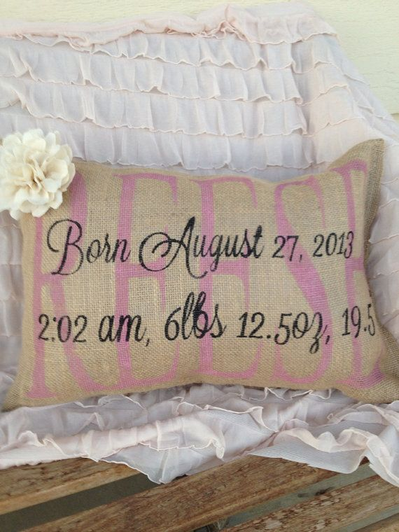 Birth announcement pillow--Love this idea!!  In Grey and Purple for Baby D's nursery!!