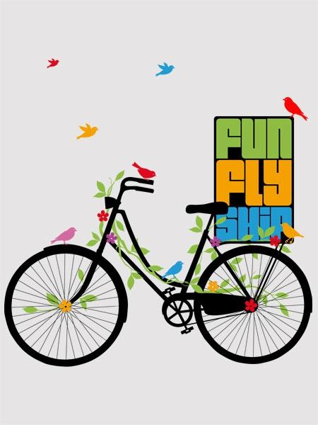Camiseta Bicicleta, vida feliz e saudável – FunFlyShip