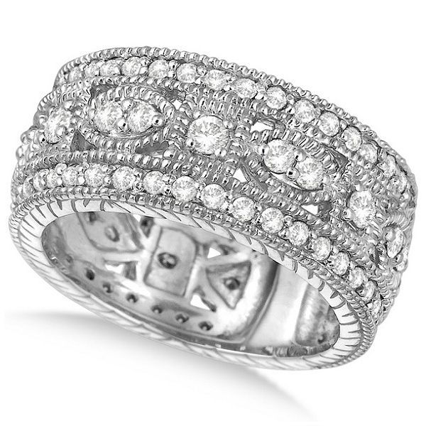 A total of eighty-six brilliant-cut round diamonds are elegantly set in a sparkling 14k white gold prong setting. The diamonds are very bright and are of G-H Color, SI1 Clarity.