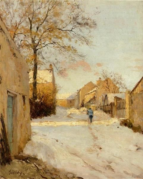 A Village Street in Winter, 1893 by Alfred Sisley. Impressionism. cityscape