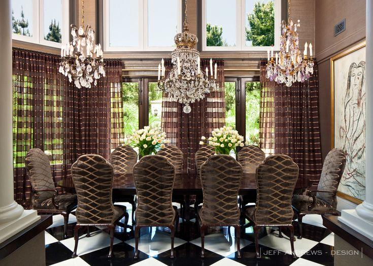 Kris Jenner house designed by Jeff Andrews   more inspiring images at http://diningandlivingroom.com/inspired-dining-room-projects-jeff-andrews/