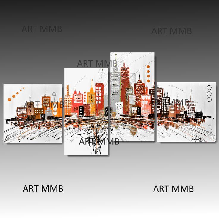 Produzione Quadri moderni astratti - 100% dipinti a mano. Quadri Moderni Astratti Toni del marrone, vengè, beig, tortora, giallo arancione, bianco
