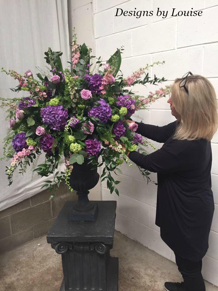 Pedesta arrangement with purple hydrangea & guilder rose
