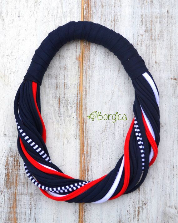 Nautical Infinity Multistrand Statement Bib Necklace - recycled fabric jewelry upcycled fiber necklace multistrand  necklace scarfrf