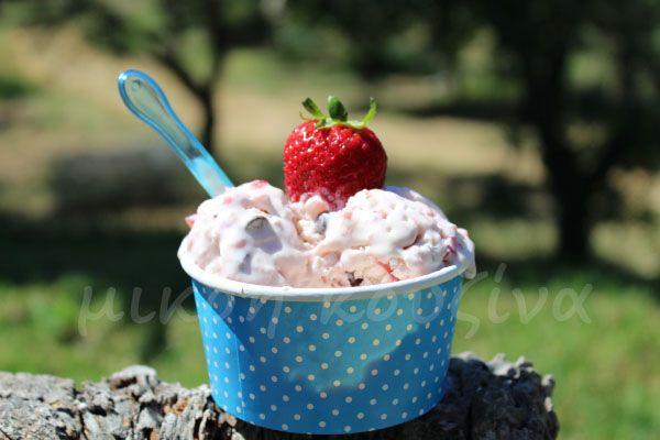 μικρή κουζίνα: Παγωτό φράουλα