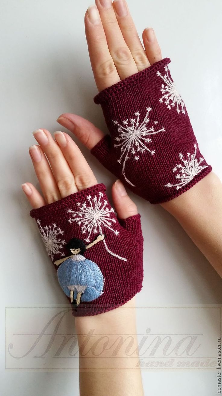 Knitted mittens with hand embroidery / Купить митенки - бордовый, рисунок, митенки вязаные, вязание спицами, вышивка ручная, аппликация вышитая