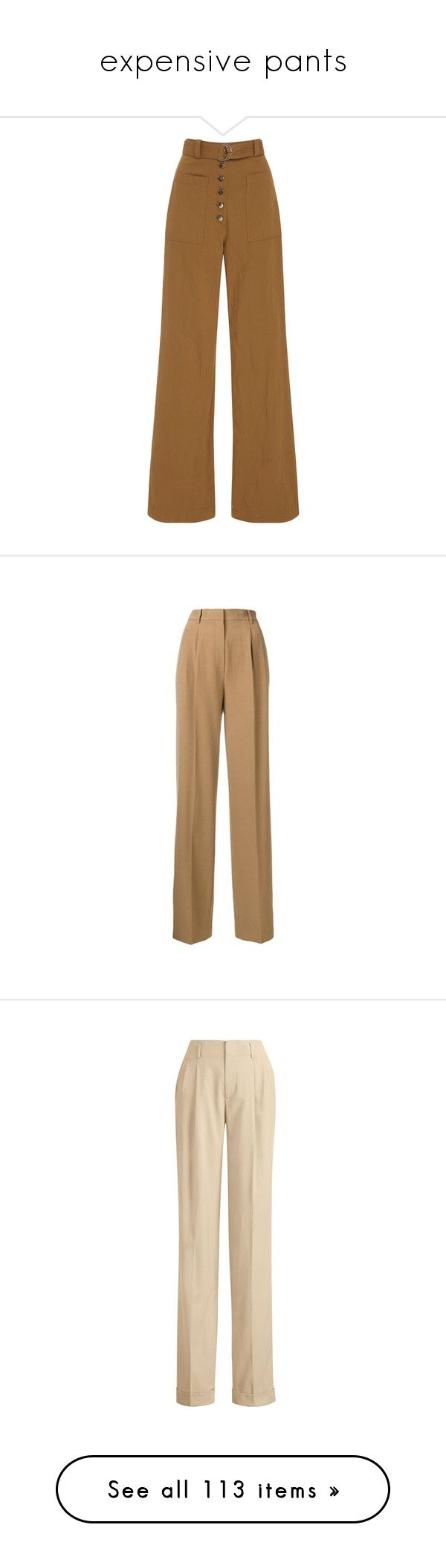 """expensive pants"" by mrstomlinson974 on Polyvore featuring pants, bottoms, trousers, brown, brown pants, brown linen pants, linen trousers, a.l.c. pants, wide leg linen trousers and beige"