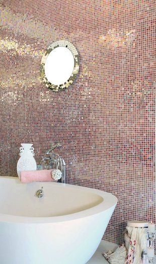 Glittering bathroom - this comes in sheets & installs easily ~ I'm tempted to cover myself in it.
