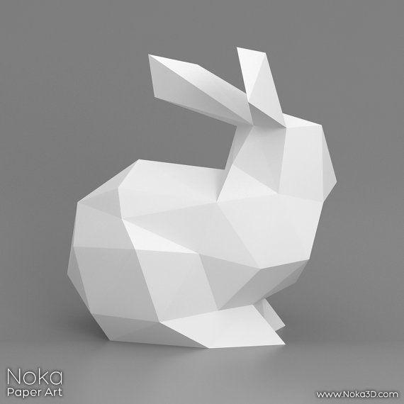 Bunny 3D papercraft model. Downloadable DIY by NokaPaperArt