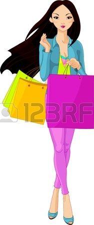 Illustrazione della bella ragazza asiatica con borse per la spesa photo