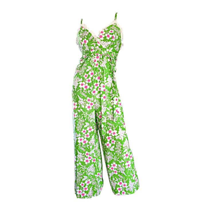 Amazing Vintage 1970s 70s Jumpsuit In Neon Green   Pink   White w/ Flowers Lace | From a collection of rare vintage suits, outfits and ensembles at https://www.1stdibs.com/fashion/clothing/suits-outfits-ensembles/