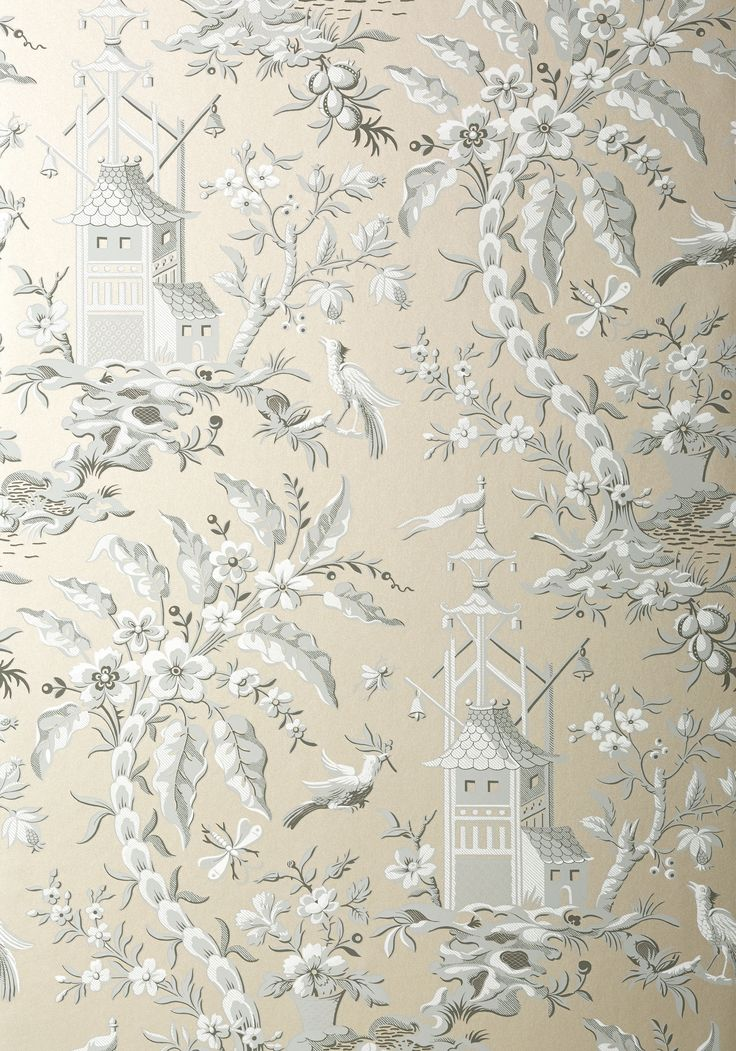 PAGODA+GARDEN, Metallic+Pewter, T14209, Collection+Imperial+Garden+from+Thibaut