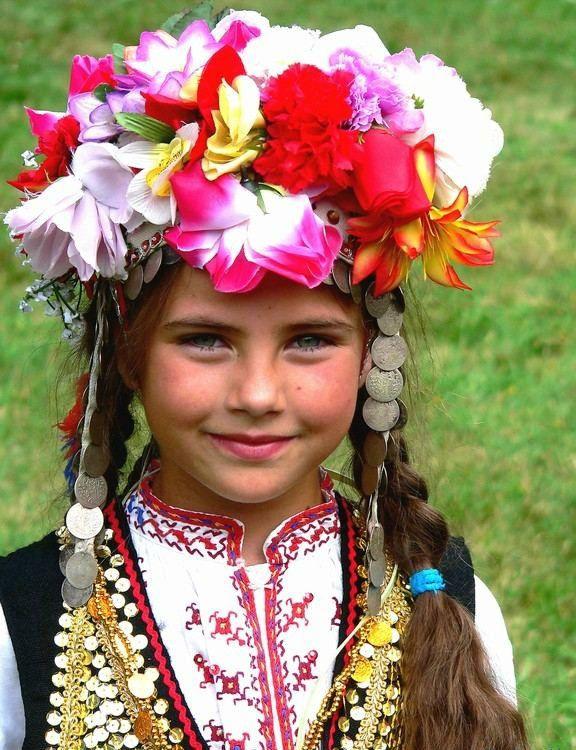 Bulgarian girl on Palm (Flower) Sunday.