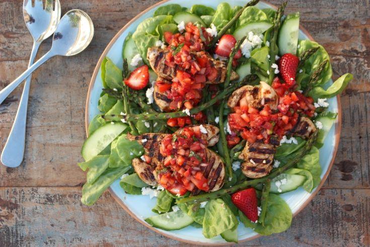 Blasamic Chicken Salad with strawberry salsa
