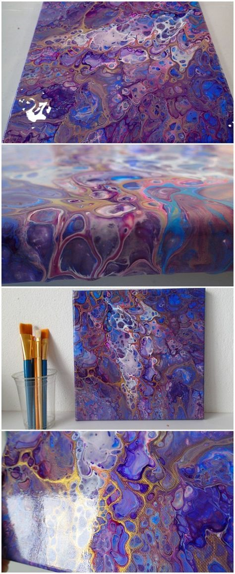 Acrylic pouring paint tutorial video for a flip cup with gold metallic accents on top of previous failed painting.