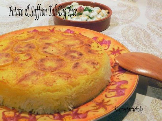 Potato & Saffron Tah Dig (Crunchy Persian Rice)