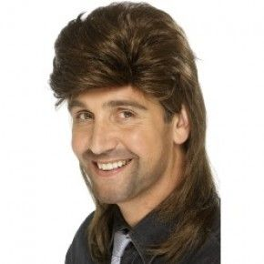 Brown Mullet Wig great use for costume parties and Halloween / Wally's Party Factory #brown #mullet #wig