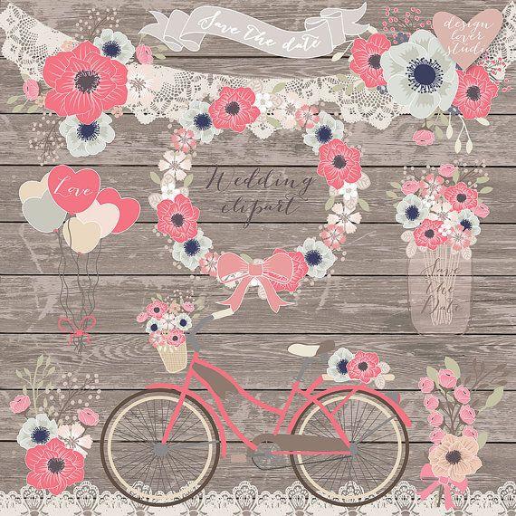 Premium VECTOR Rustic wedding clipart, Bicycle Clipart, shabby chic clipart,wedding clipart, flower clipart, wood digital paper