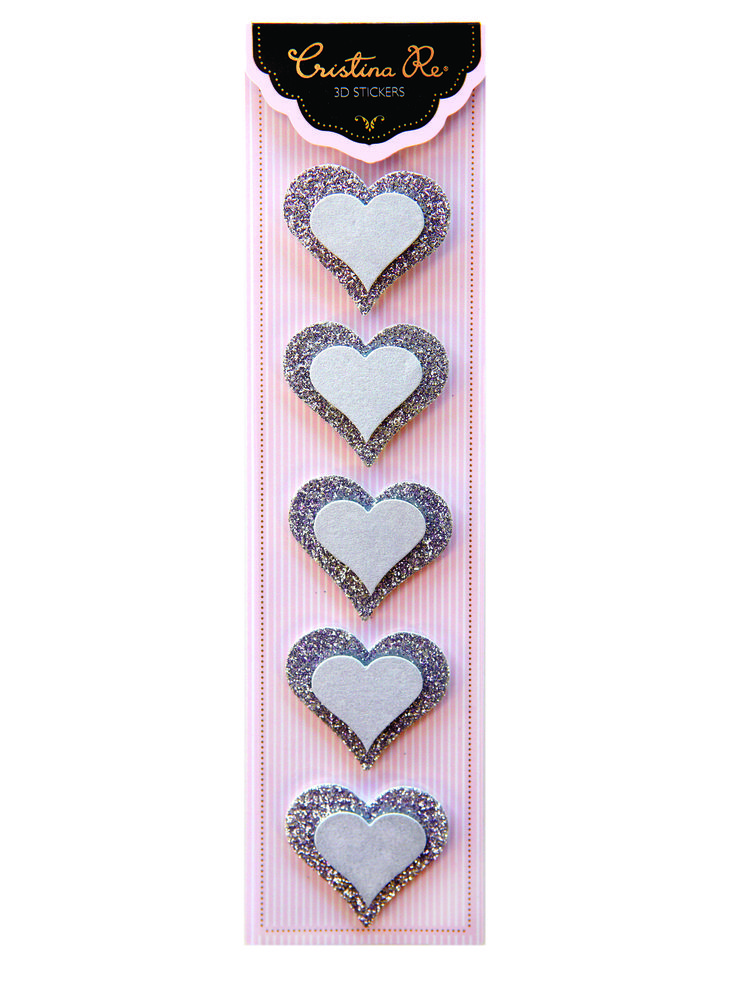 Check out our #DIY #3D #Heart #Stickers Embellished with #silver #glitter. Also available in a range of #butterfly and #heart designs. Express your creativity and personal style, ready for purchase now at www.cristinare.com