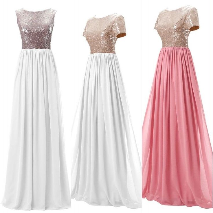 NEW Sequin Chiffon Long Party Dresses Prom Womens Wedding Bridesmaid Gown SLEEVE #socalledLove #Maxi #Prom
