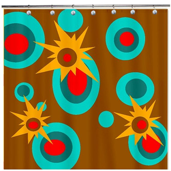 Mod Geometric Funky Shower Curtain Brown Red by crashpaddesigns, $86 ...