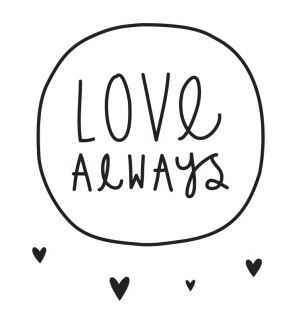 Decorative wall sticker of a black circle with the text 'Love Always' with 33 little heart stickers. With these cool wall stickers you can give a kid's room a new look in an instant!    Sizes: 21.3 x 21 cm (large sticker) Contents: 1 large and 33 small stickers