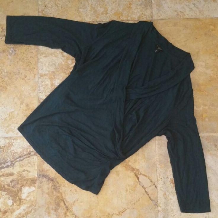 TALBOTS WOMAN Plus SZ X Hunter Green 3/4 Sleeve Stretch Mock Wrap Front Top X13 #Talbots #Wrap