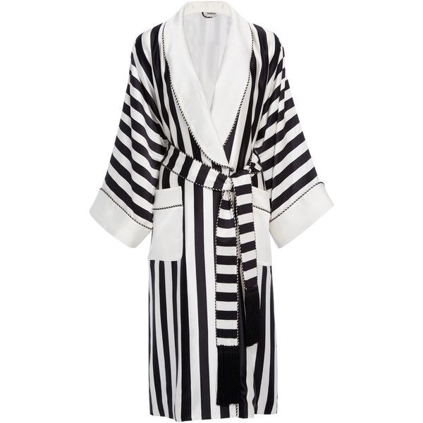 Homeism Willow Silk Robe ($1,320) ❤ liked on Polyvore featuring intimates, robes, stripe, bath robes, silk bathrobe, dressing gown, silk dressing gown and silk robe