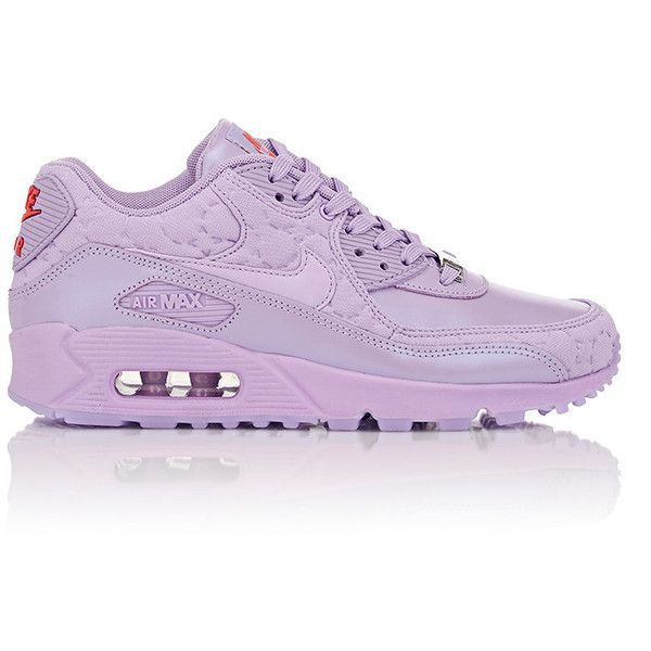 """Nike Air Max 90 QS """"Paris"""" Sneakers ($150) ❤ liked on Polyvore featuring shoes, sneakers, purple, lace up shoes, round cap, purple flat shoes, nike sneakers and nike footwear"""
