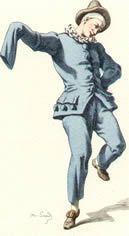 Peppe Nappa. Maschera di origine siciliana deve il suo nome alle parole Peppi, diminutivo dialettale di Giuseppe, e nappa, che significa toppa dei calzoni, cosicché Giuseppe toppa nei calzoni sta ad indicare un uomo da nulla. Il costume di scena era costituito da un ampio abito azzurro, formato da casacca e calzoni e un cappellino di feltro sul volto privo di maschera e di trucco.
