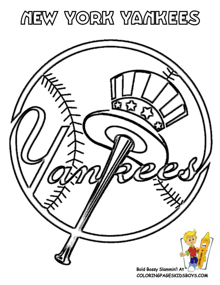 New York Yankees Baseball Coloring Page At Yescoloring Com Slide