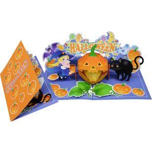Pop-up Card(Halloween/Black Cat and Witch),Craft Cards,Card,Halloween,orange,Pumpkin ,Lantern,broom
