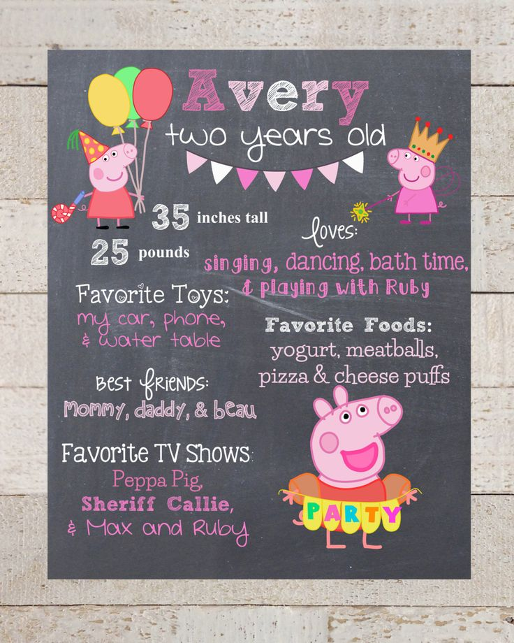 First Birthday Chalkboard- Custom First Birthday Sign-Peppa Pig- Chalkboard Stats-Custom Digital File-Birthday Party-Birthday by xHarpersHalosx on Etsy