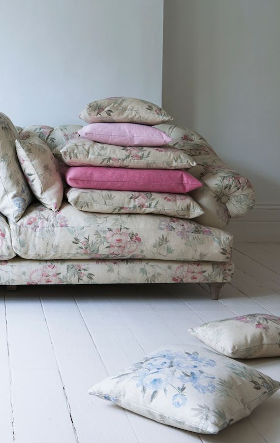 Loaf's Scatter cushions in Vintage Rose floral linen