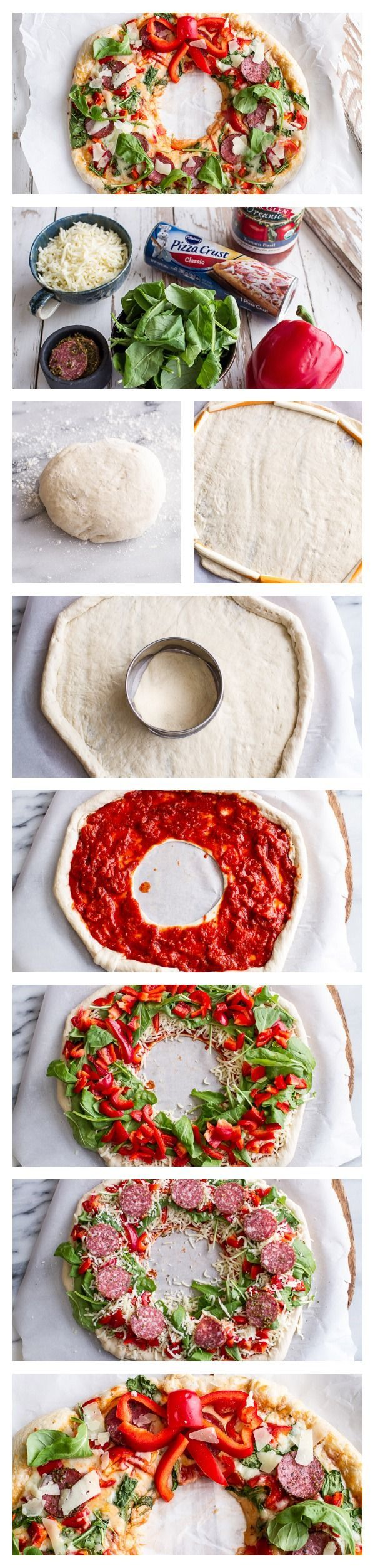 Pizza Wreath // easy to customize with your favorite toppings and crust, you can even make mini wreaths for individual servings
