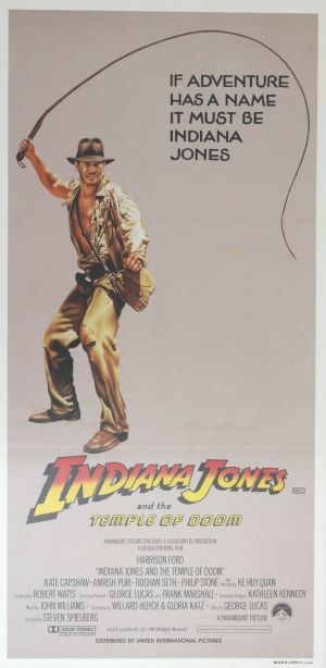 Indiana Jones and the Temple of Doom, 1984 - original vintage movie poster for the second Indiana Jones film, Temple of Doom, starring Harrison Ford as the adventurous archaeologist, Kate Capshaw, Jonathan Ke Quan, Amrish Puri, Roshan Seth and Philip Stone, listed on AntikBar.co.uk