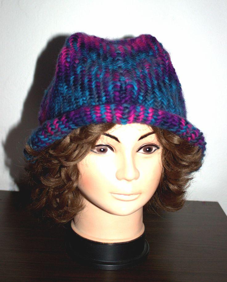 Hat or cap. Sprang technique, wool.