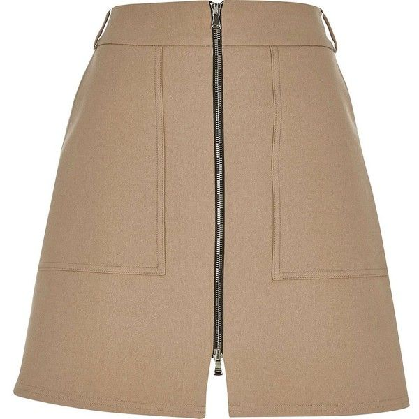 River Island Camel zip-up A-line skirt (€18) ❤ liked on Polyvore featuring skirts, cream, sale, camel skirt, a-line skirt, brown a line skirt, cream skirt and tall skirts
