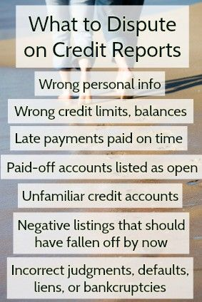 Wondering what sort of things dispute on your credit reports? Here's a list: 1) incorrect personally-identifying information; 2) incorrect credit limits and balances; 3) late payments you believe you paid on time; 4) paid-off accounts listed as open or delinquent; 5) credit accounts you do not recognize; 6) negative listings that should have fallen off by now; and 7) incorrect judgments, defaults, liens, or bankruptcies.