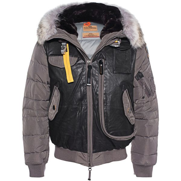 PARAJUMPERS Grizzly Grey // Down jacket with fur trim ($1,155) ❤ liked on Polyvore featuring men's fashion, men's clothing, men's outerwear, men's jackets, mens hooded leather jacket, mens slim leather jacket, mens slim fit bomber jacket, mens grey bomber jacket and mens gray leather jacket