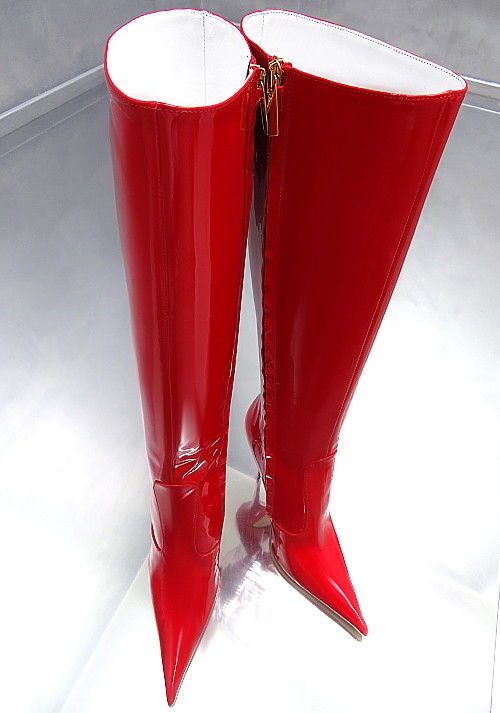 HOHE LEDER STIEFEL ROT LACK SCHUHE 1969 ITALY Z22 BOOTS
