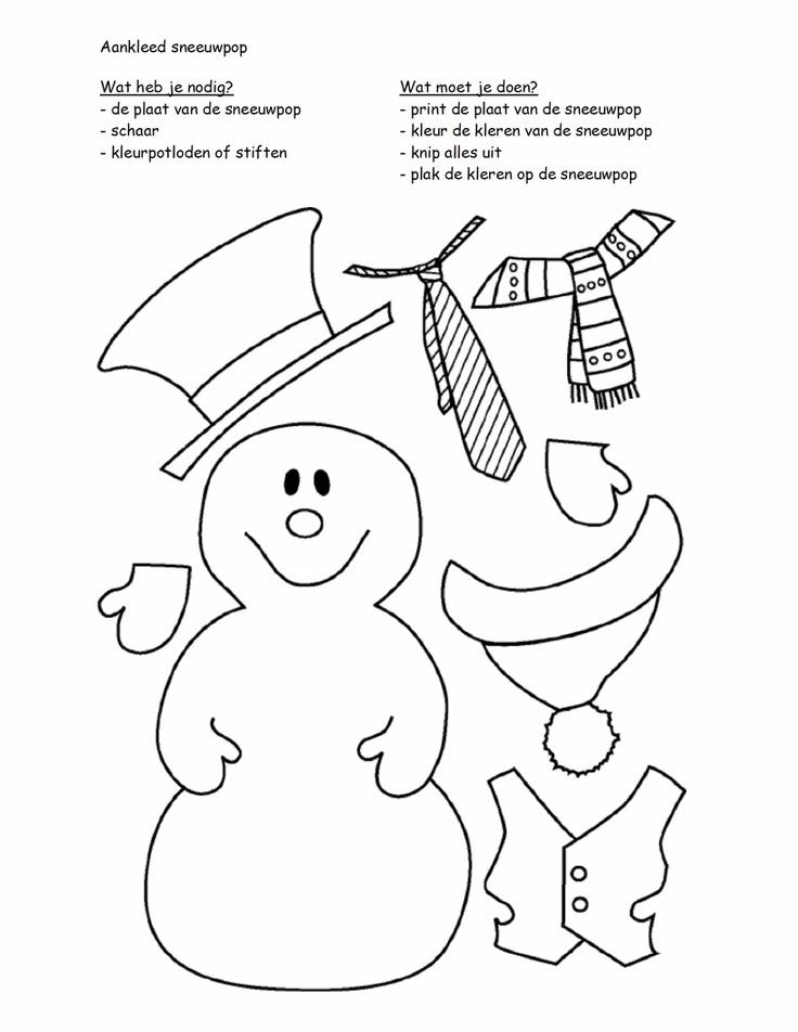 Sneeuwpop aankleden.. opplakken op blauw papier, met wasco sneeuw tekenen