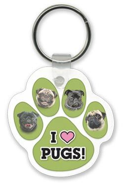 Pug Paw Print Key Chain. Great stocking stuffer. Save 10% now through 12/7/2014 and all proceeds benefit the pugs in rescue at Pug Rescue Network.