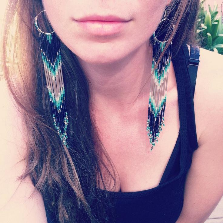 Long Fringe Beaded Earrings, Mint, Teal, White Shoulder Dusters, Long Seed Bead Earrings, Native American Inspired, Tribal, Southwestern. $75.00, via Etsy.
